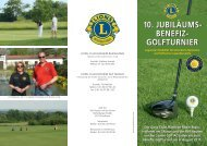 10. jubiläums- benefiz- golfturnier 10. jubiläums- benefiz