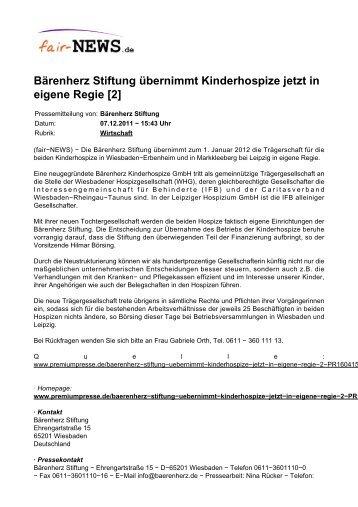 Bärenherz Stiftung übernimmt Kinderhospize jetzt in ... - fair-NEWS.de