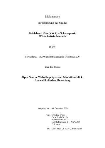 Diplomarbeit zur Erlangung des Grades Betriebswirt - Homeepage ...