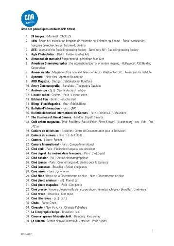 Liste des périodiques archivés (211 titres) 1. 24 Images ... - CNA