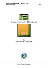 Benutzerhandbuch – DGV-Intranet PC CADDIE Anwender - Golf.de
