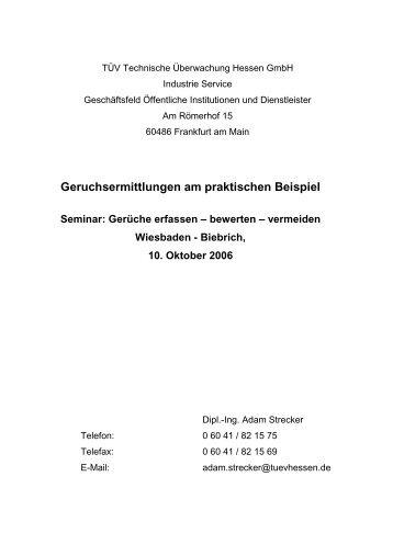 Geruchsermittlungen am praktischen Beispiel Seminar: Gerüche ...
