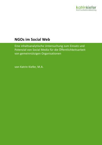 NGOs im Social Web Social Web - netzwerkPR