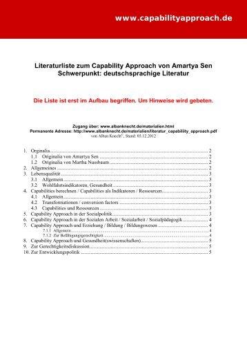 Literaturliste zum capability approach von Amartya Sen - Alban Knecht