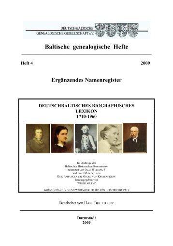 Baltische genealogische Hefte Herausgeber Deutsch ... - DBGG