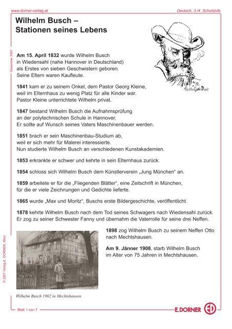 Wilhelm Busch Stationen Seines Lebens Verlag E Dorner