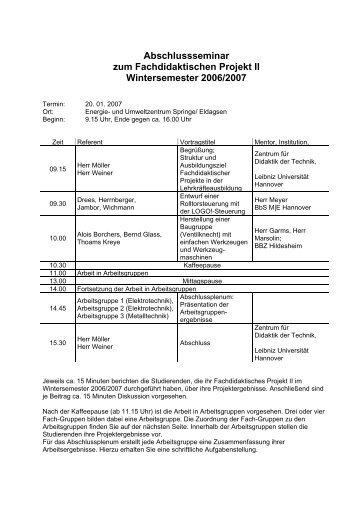 Abschlussseminar zum Fachdidaktischen Projekt II Wintersemester ...