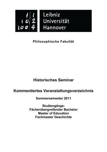 Historisches Seminar Kommentiertes Veranstaltungsverzeichnis