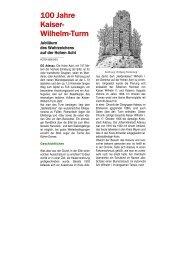 100 Jahre Kaiser- Wilhelm-Turm - Eifelverein