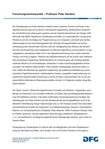 Prof. Dr. Peter Sanders - DFG