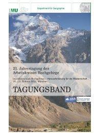 Interaktionsraum Hochgebirge – Herausforderung ... - Universität Bonn