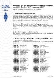 Protokoll der 42. ordentlichen Generalversammlung der
