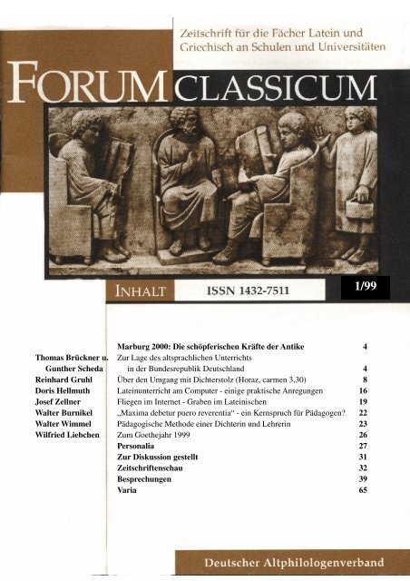 Forum Classicum 99 1 Deutscher Altphilologenverband