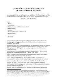 ausgewählte sekundärliteratur zu otto friedrich bollnow