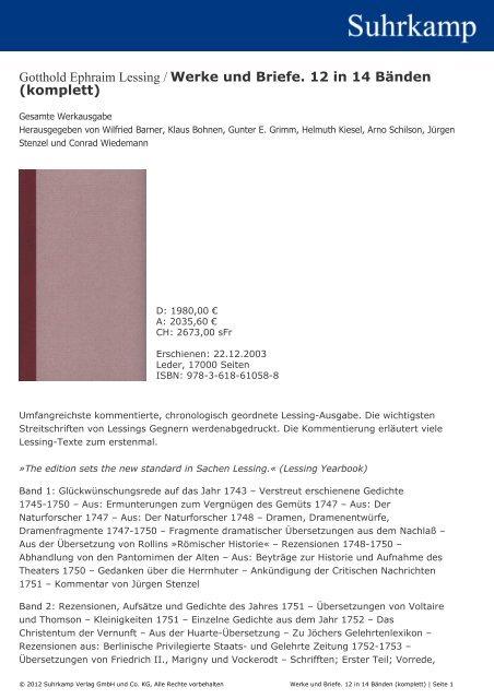 Gotthold Ephraim Lessing Werke Und Briefe 12 In 14 Bänden