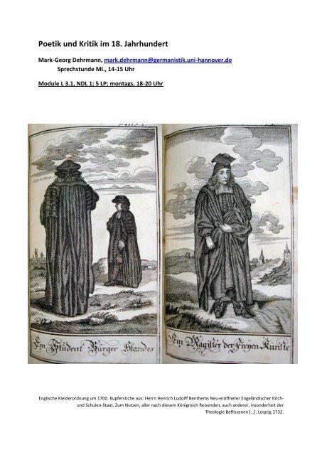 Poetik und Kritik im 18. Jahrhundert - Deutsches Seminar