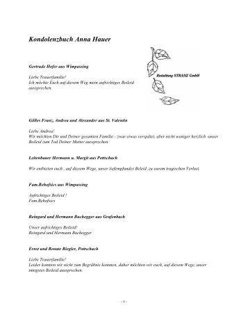Kondolenzbuch Anna Hauer - Bestattung STRANZ Grafenbach