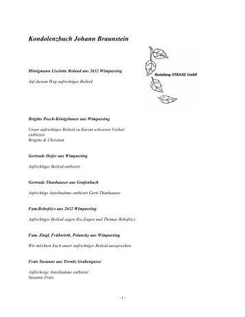Kondolenzbuch Johann Braunstein - Bestattung STRANZ Grafenbach