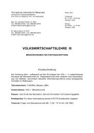 VOLKSWIRTSCHAFTSLEHRE III - Lehrstuhl für ...