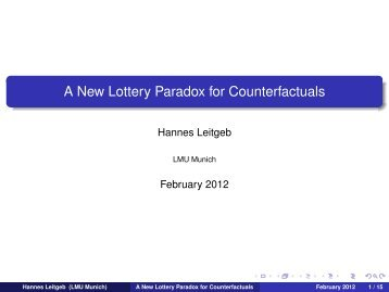 A New Lottery Paradox for Counterfactuals - Munich Center for ...
