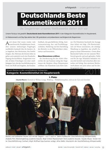 Deutschlands Beste Kosmetikerin 2011 - Body & Soul