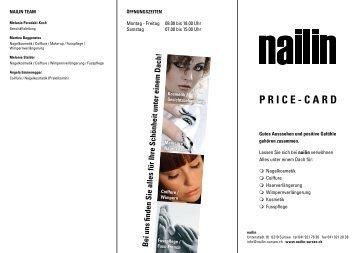 P R I C E - C A R D - nailin Beauty-Center