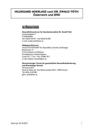 HILDEGARD ADERLASS nach DR. EWALD TÖTH Österreich und