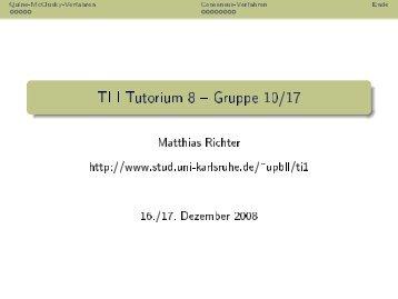 TI I Tutorium 8 -- Gruppe 10/17