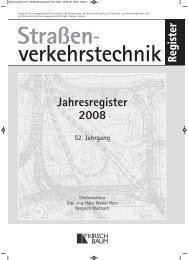 Register Jahresregister 2008 - Strassenverkehrstechnik Online