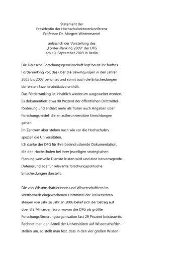 Statement der Präsidentin der Hochschulrektorenkonferenz ... - DFG