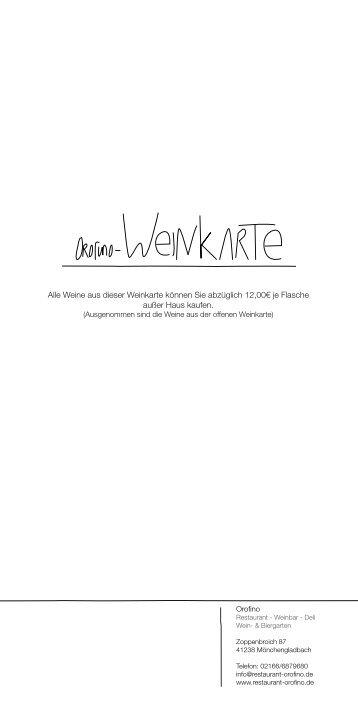 Weinkarte - Restaurant Orofino