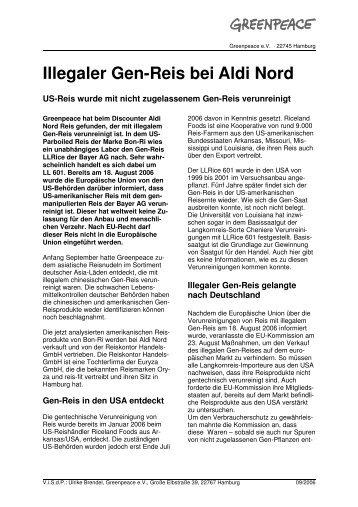 Illegaler Gen-Reis bei Aldi Nord