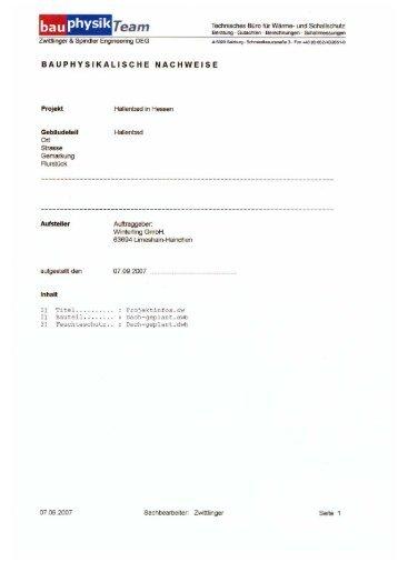 Bauphysikalisches Gutachten - Holzbau Winterling