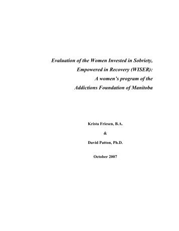 Evaluation of the Women Invested in Sobriety, Empowered in ...