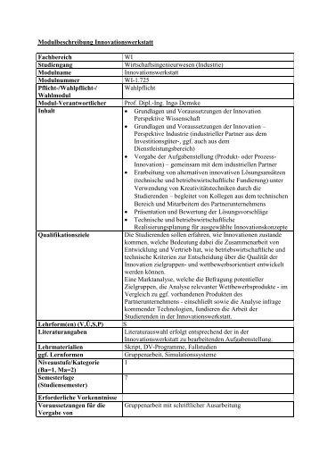 Modulbeschreibung Innovationswerkstatt Fachbereich WI ...
