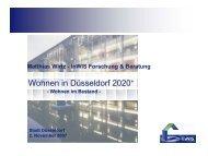 Wohnen in Düsseldorf 2020+ - InWIS Forschung & Beratung GmbH