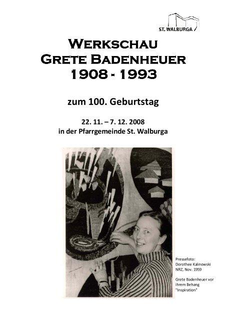Erinnerung an Grete Badenheuer - Katholische Gemeinde St ...