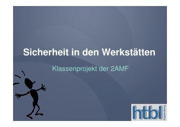 Sicherheit in den Werkstätten - HTL Kapfenberg
