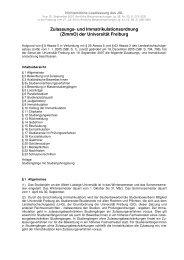 Zulassungs- und Immatrikulationsordnung - Albert-Ludwigs ...