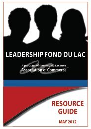 Leadership Fond du Lac Resource Guide - May 2012