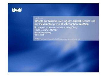 Gesetz zur Modernisierung des GmbH-Rechts und zur Bekämpfung ...