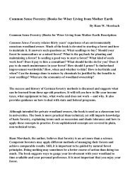 Common Sense Forestry (Books for Wiser Living from Mother Earth