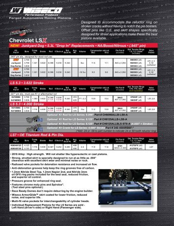 Chevrolet Piston Kits - Wiseco