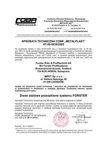 "aprobata techniczna cobr ""metalplast"" at-06-0839/2005 - bbs polska"