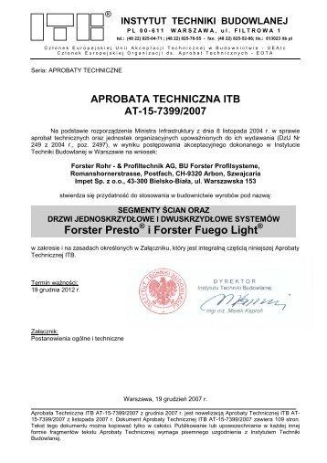 Aprobata Techniczna ITB AT-15-7399/2007 - bbs polska