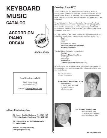 KEYBOARD MUSIC - Alliance Publications Inc