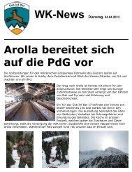 WK-News Dienstag, 24.04.2012 Arolla bereitet sich auf die PdG vor