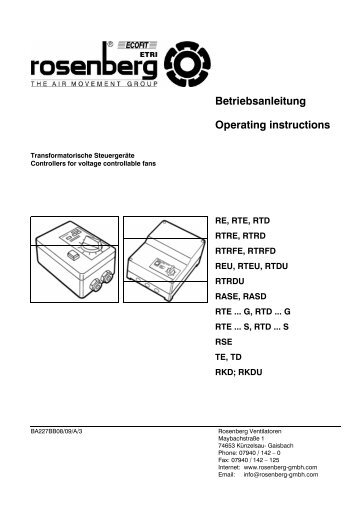 Betriebsanleitung Operating instructions - Rosenberg Ventilatoren ...