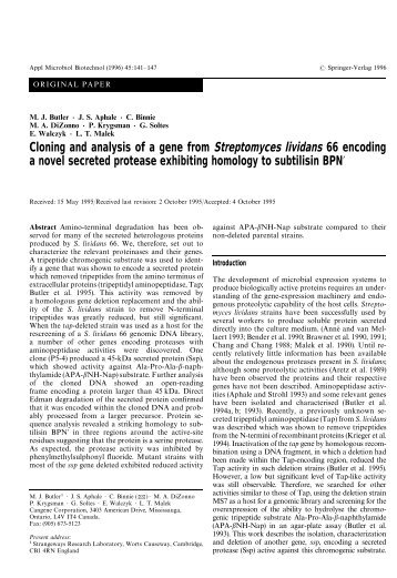 Cloning and analysis of a gene from Streptomyces lividans 66 ...
