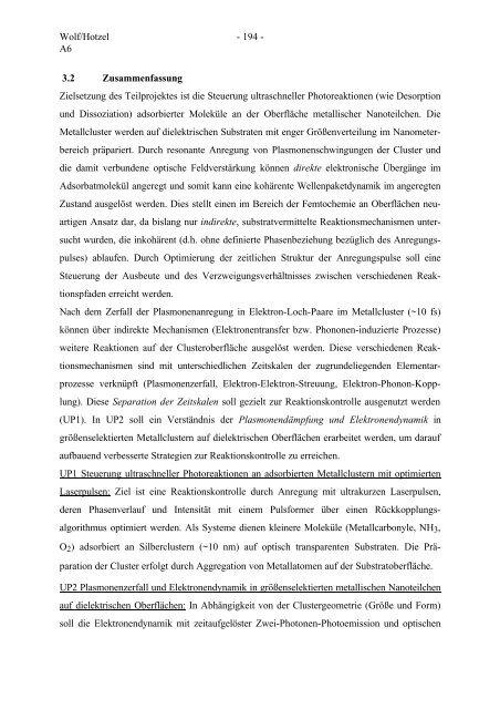 Thema: Analyse und Steuerung photostimulierter Dissoziation und ...
